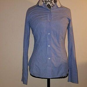 ZARA denim blue long sleeve button down shirt